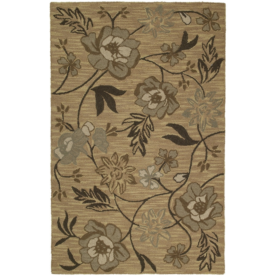 Kaleen Khazana Rectangular Yellow Floral Tufted Wool Area Rug (Common: 8-ft x 10-ft; Actual: 7.5-ft x 9-ft)