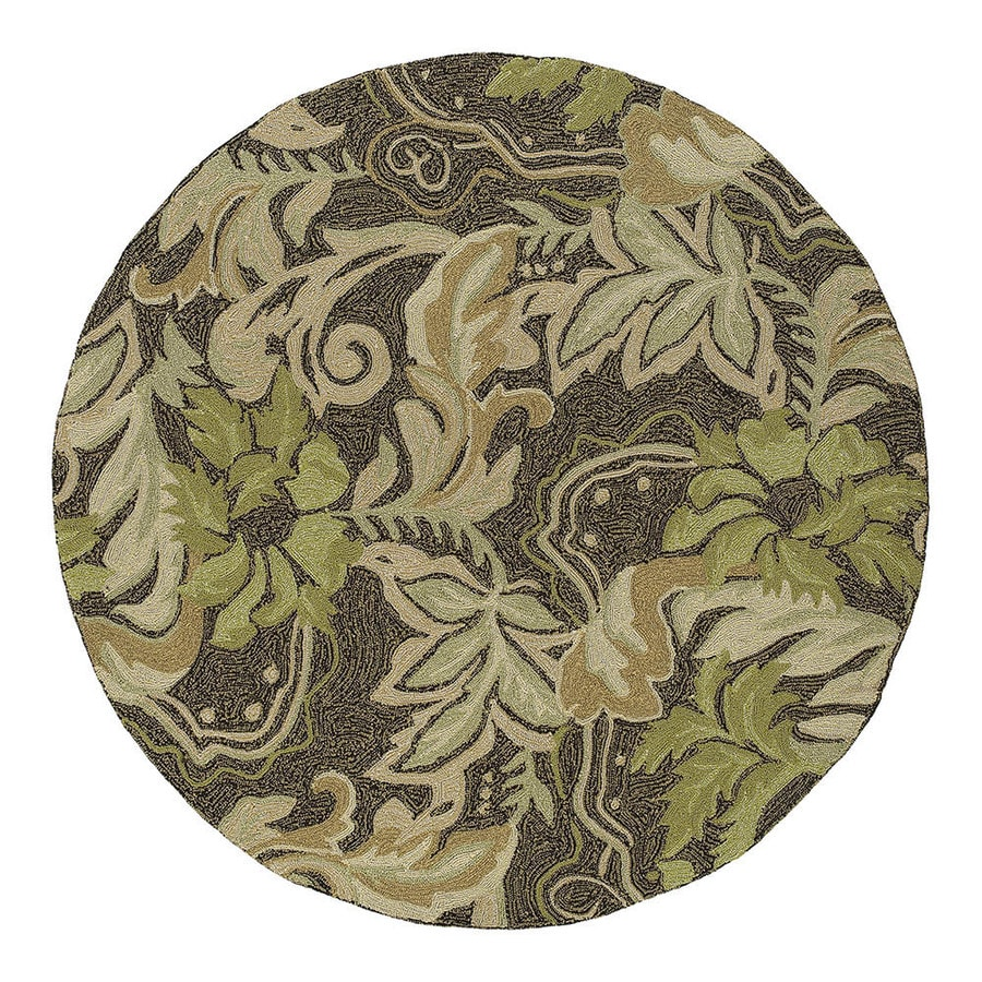 Kaleen Round Brown Floral Indoor/Outdoor Tufted Area Rug (Common: 8-ft x 8-ft; Actual: 7.75-ft x 7.75-ft)