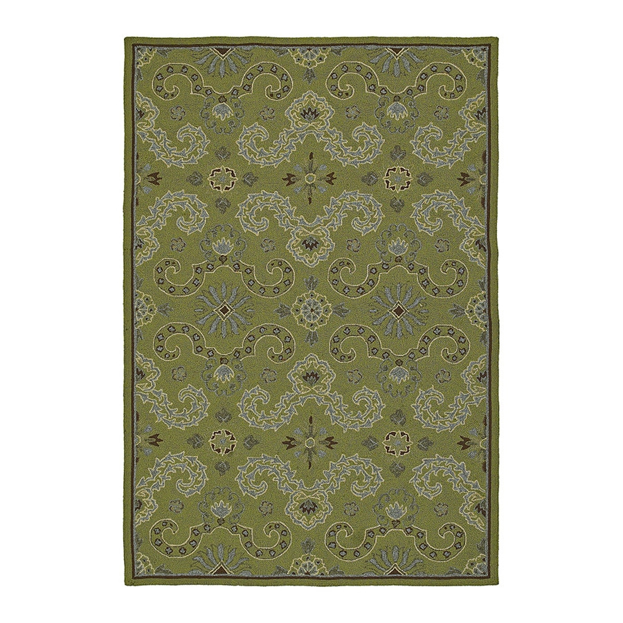 Kaleen Home and Porch Rectangular Green Floral Indoor/Outdoor Tufted Area Rug (Common: 9-ft x 12-ft; Actual: 12-ft x 9-ft)