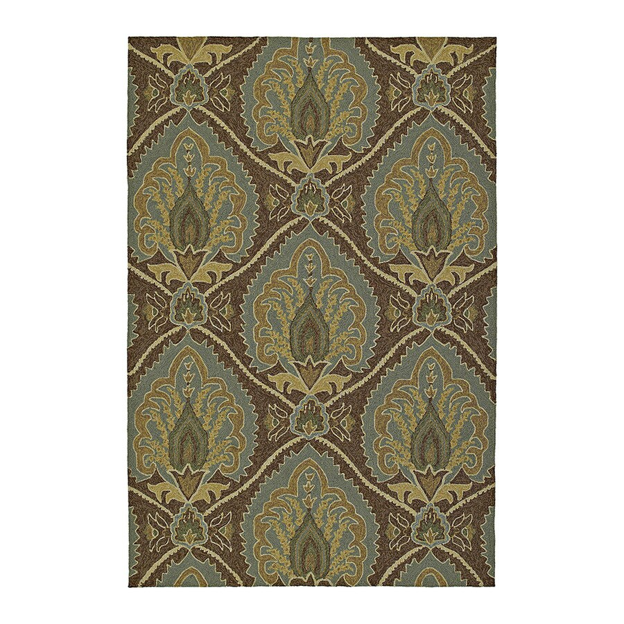 Kaleen Home and Porch Rectangular Brown Floral Indoor/Outdoor Tufted Area Rug (Common: 9-ft x 12-ft; Actual: 12-ft x 9-ft)