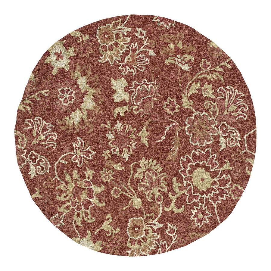 Kaleen 5-ft 9-in x 5-ft 9-in Round Red Floral Indoor/Outdoor Area Rug