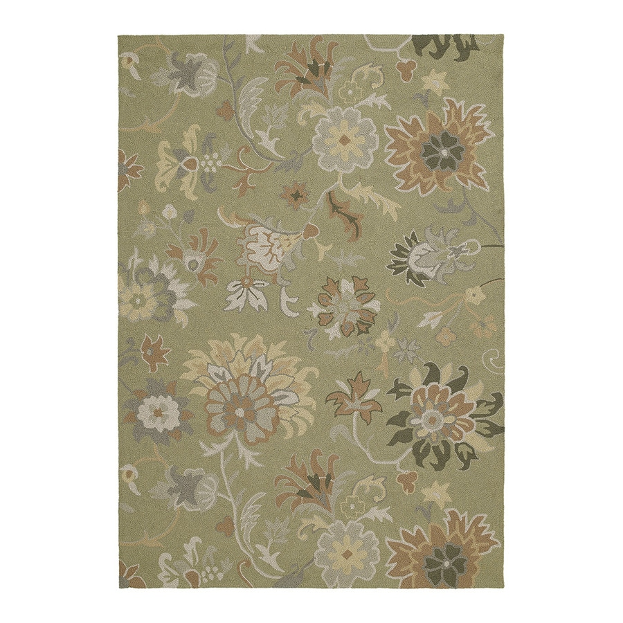 Kaleen Home and Porch 7-ft 6-in x 5-ft Rectangular Green Floral Indoor/Outdoor Area Rug