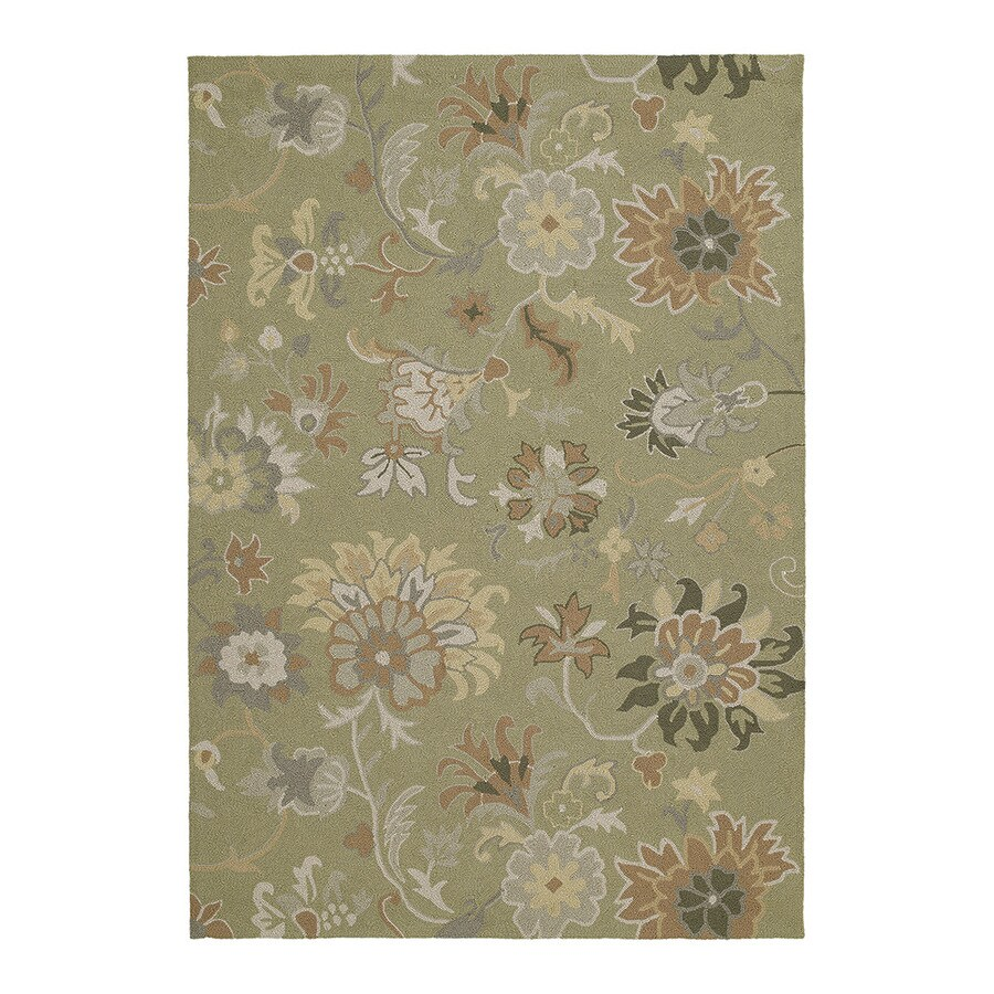 Kaleen Home and Porch 9-ft x 7-ft 6-in Rectangular Green Floral Indoor/Outdoor Area Rug