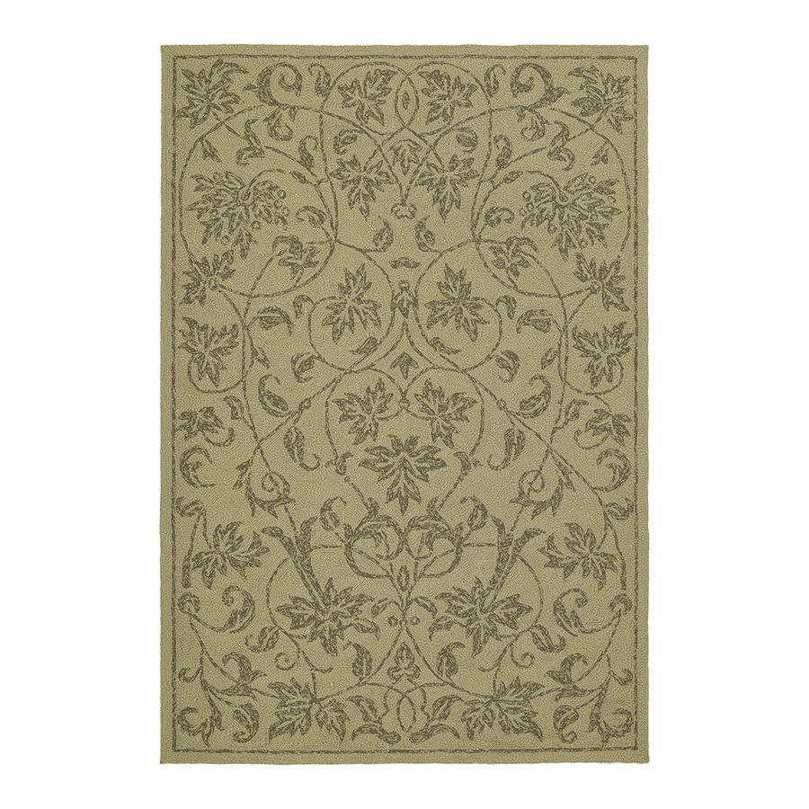 Kaleen Home and Porch Rectangular Cream Floral Indoor/Outdoor Tufted Area Rug (Common: 5-ft x 8-ft; Actual: 7.5-ft x 5-ft)