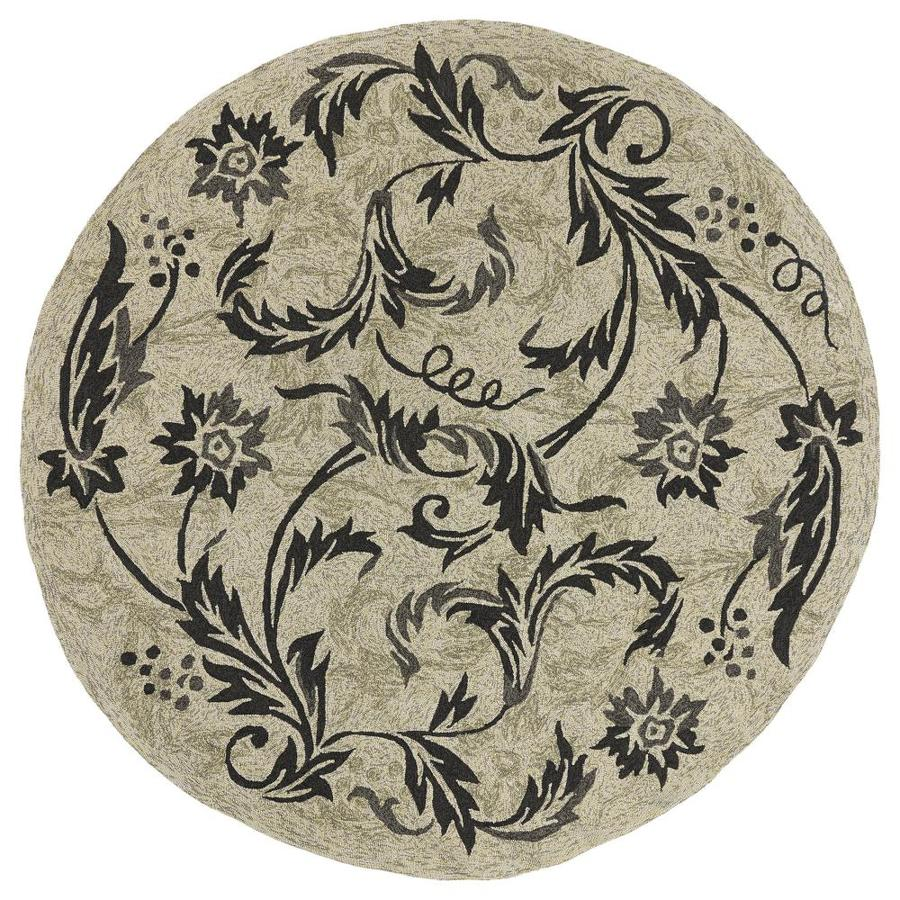 Kaleen Home and Porch Beige Round Indoor/Outdoor Handcrafted Nature Area Rug (Common: 8 x 8; Actual: 7.75-ft W x 7.75-ft L)