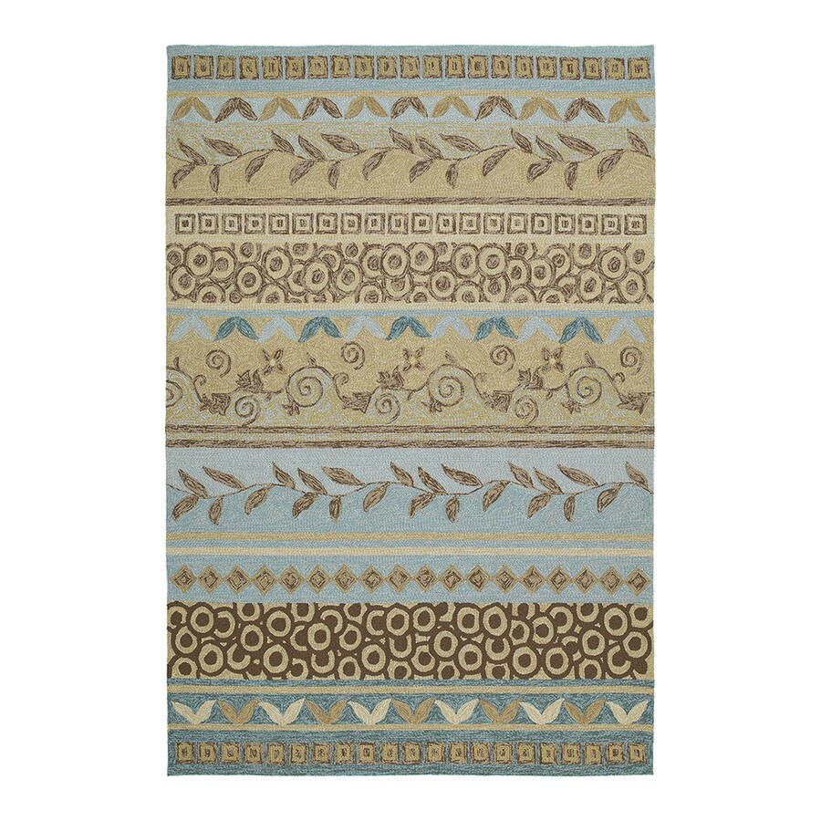 Kaleen Home and Porch Rectangular Blue Floral Indoor/Outdoor Tufted Area Rug (Common: 8-ft x 10-ft; Actual: 9-ft x 7.5-ft)