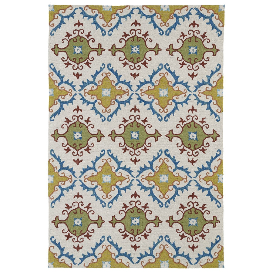 Kaleen Home and Porch Ivory Rectangular Indoor/Outdoor Handcrafted Oriental Area Rug (Common: 5 x 8; Actual: 5-ft W x 7.5-ft L)