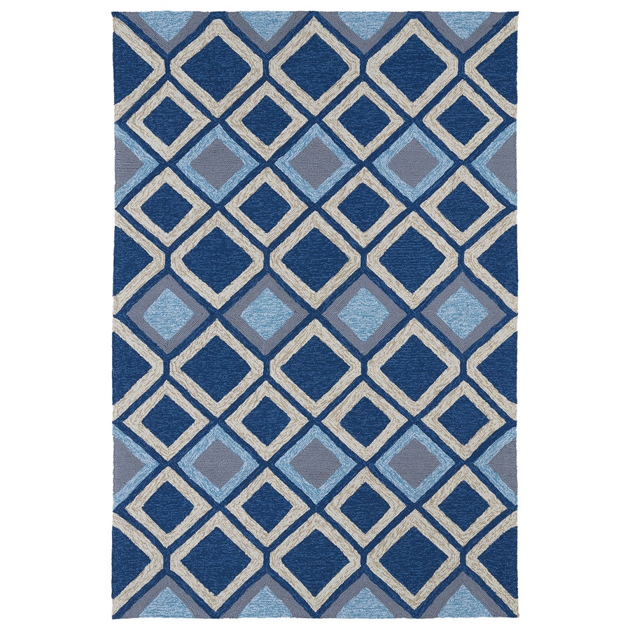 Kaleen Home and Porch Blue Rectangular Indoor and Outdoor Tufted Area Rug (Common: 8 x 9; Actual: 90-in W x 108-in L)