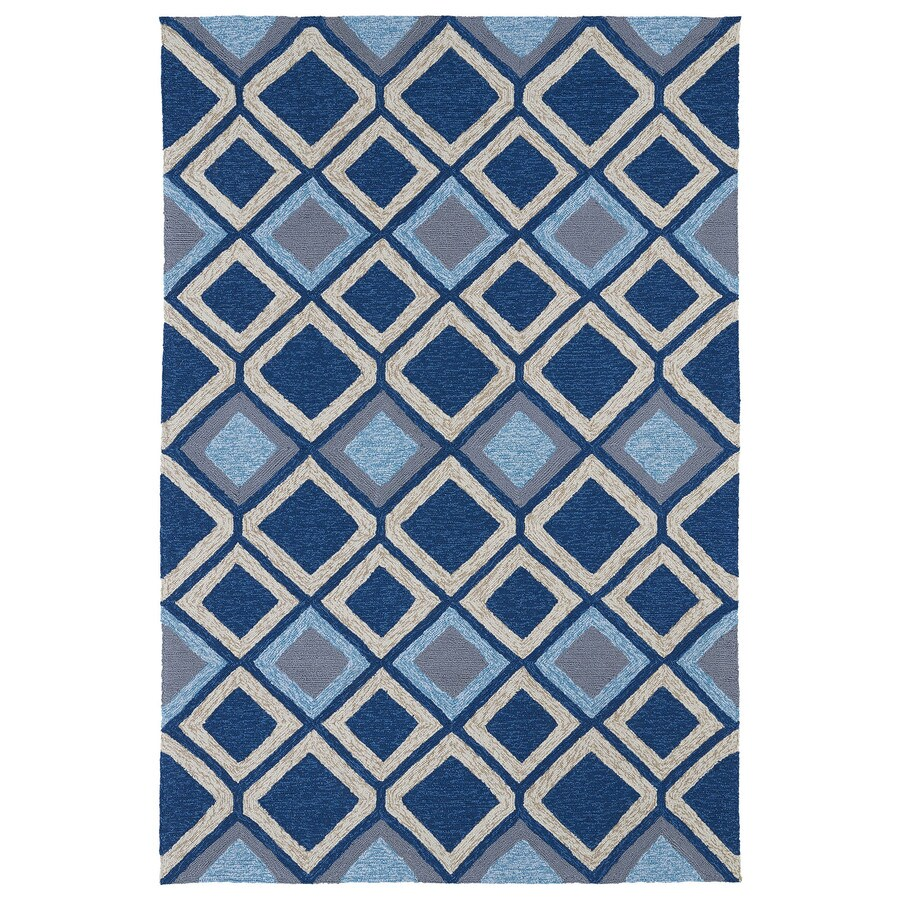 Kaleen Home and Porch Blue Rectangular Indoor/Outdoor Handcrafted Oriental Area Rug (Common: 8 x 10; Actual: 7.5-ft W x 9-ft L)