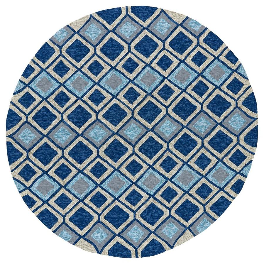 Kaleen Home and Porch Blue Round Indoor Handcrafted Oriental Area Rug (Common: 8 x 8; Actual: 7.75-ft W x 7.75-ft L x 7.75-ft dia)