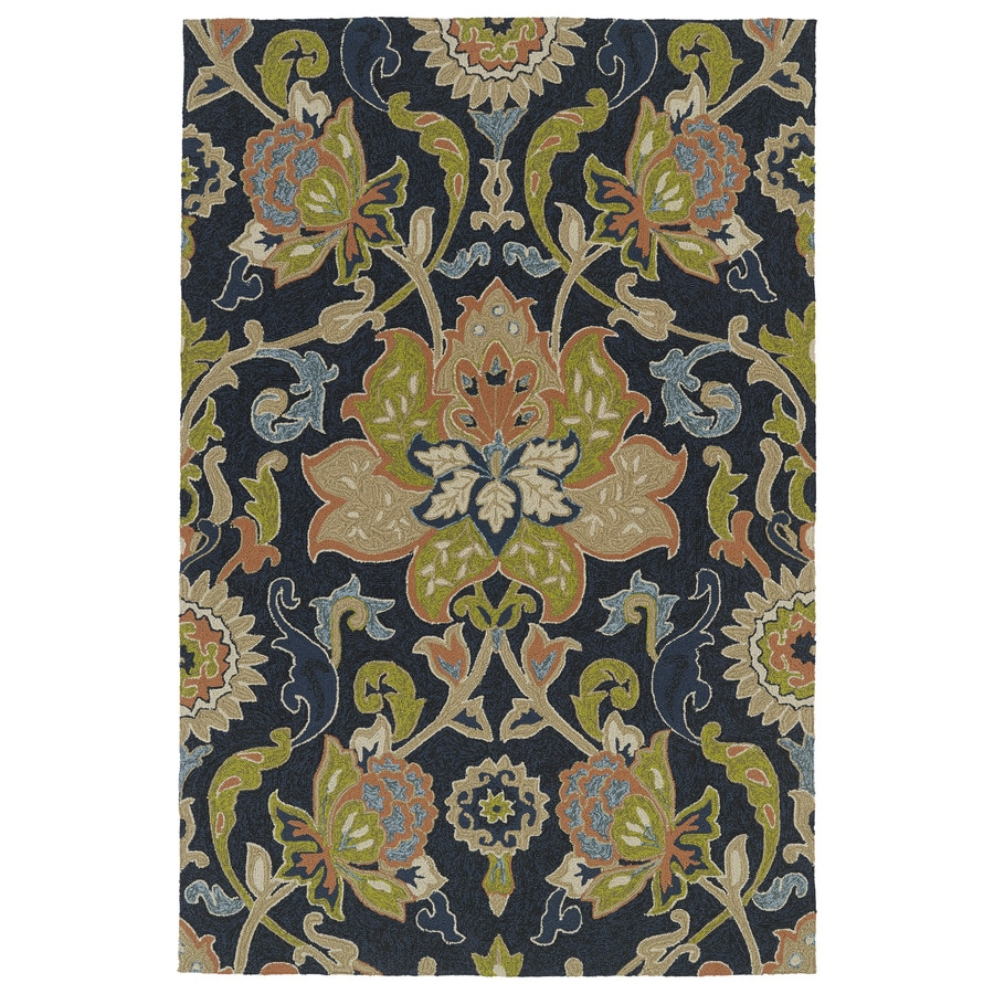 Kaleen Home and Porch Navy Rectangular Indoor/Outdoor Handcrafted Nature Area Rug (Common: 8 x 10; Actual: 7.5-ft W x 9-ft L)