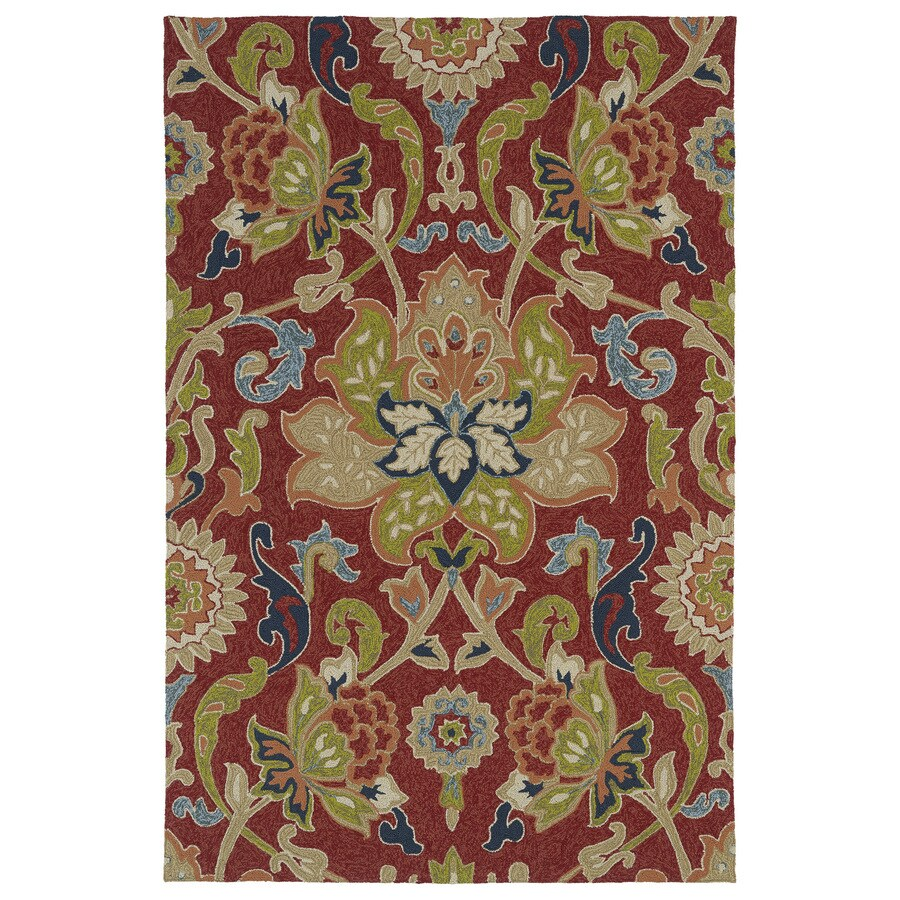 Kaleen Home and Porch Red Rectangular Indoor/Outdoor Handcrafted Nature Area Rug (Common: 5 x 7; Actual: 5-ft W x 7.5-ft L)