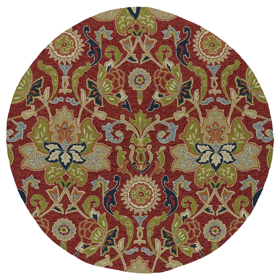 Kaleen Home and Porch Red Round Indoor/Outdoor Handcrafted Nature Area Rug (Common: 6 x 6; Actual: 5.75-ft W x 5.75-ft L)