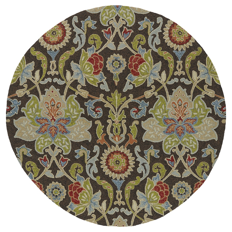 Kaleen Home and Porch Chocolate Round Indoor and Outdoor Tufted Area Rug (Common: 6 x 6; Actual: 69-in W x 69-in L)