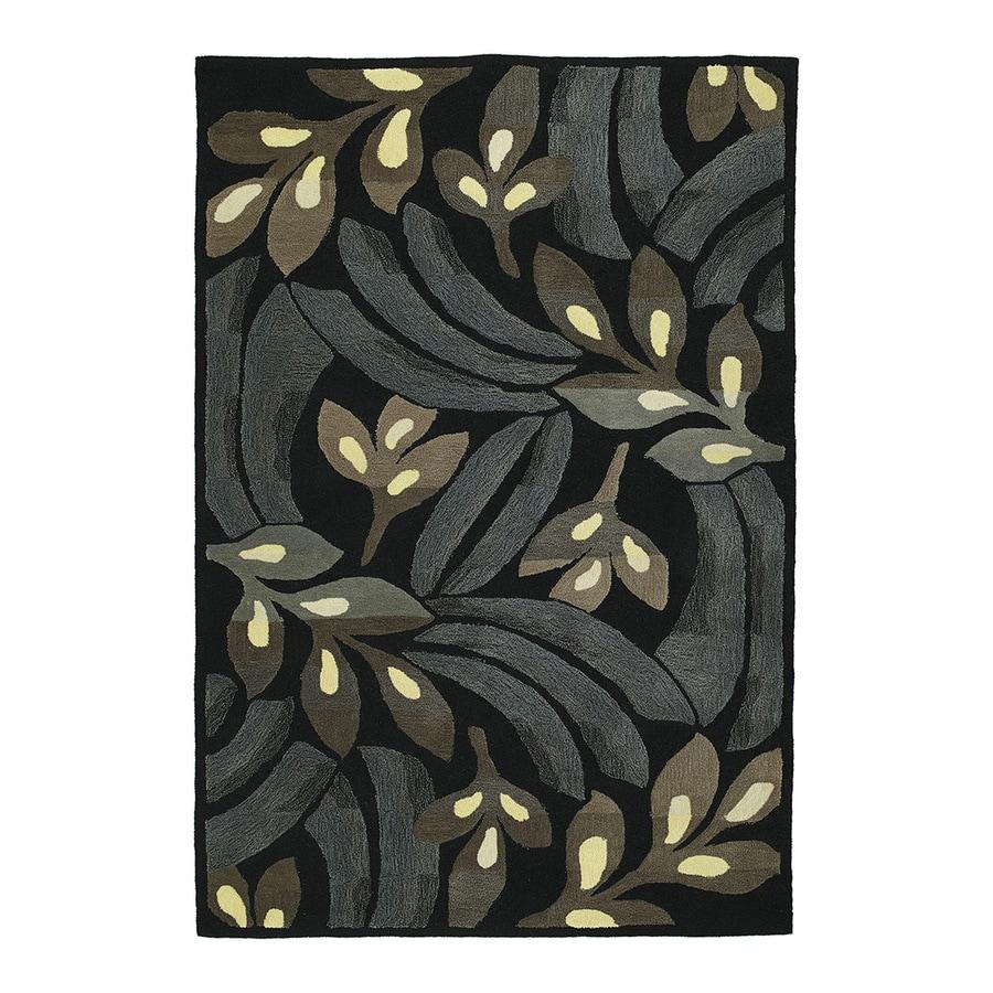 Kaleen Premier 36-in x 60-in Rectangular Black Floral Accent Rug