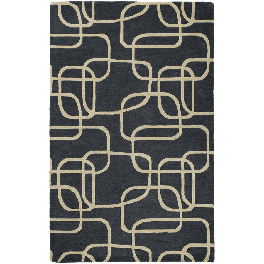 Kaleen Astronomy Rectangular Black Geometric Tufted Wool Area Rug (Common: 8-ft x 10-ft; Actual: 7.5-ft x 9-ft)
