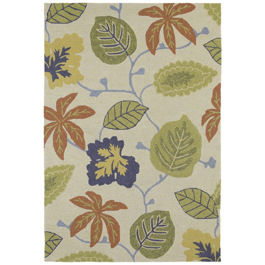 Kaleen Habitat Linen Rectangular Indoor/Outdoor Handcrafted Nature Area Rug (Common: 5 x 7; Actual: 5-ft W x 7.5-ft L)