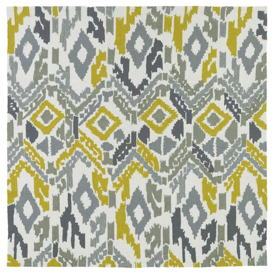 Kaleen Habitat Grey Square Indoor/Outdoor Handcrafted Novelty Area Rug (Common: 8 x 8; Actual: 7.9-ft W x 7.9-ft L)
