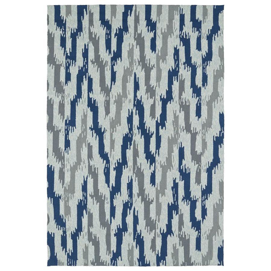 Kaleen Habitat Blue Indoor/Outdoor Handcrafted Southwestern Area Rug (Common: 5 x 8; Actual: 5-ft W x 7.5-ft L)