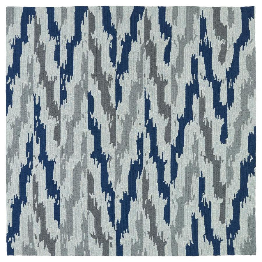 Kaleen Habitat Blue Square Indoor/Outdoor Handcrafted Southwestern Area Rug (Common: 8 x 8; Actual: 7.75-ft W x 7.75-ft L)
