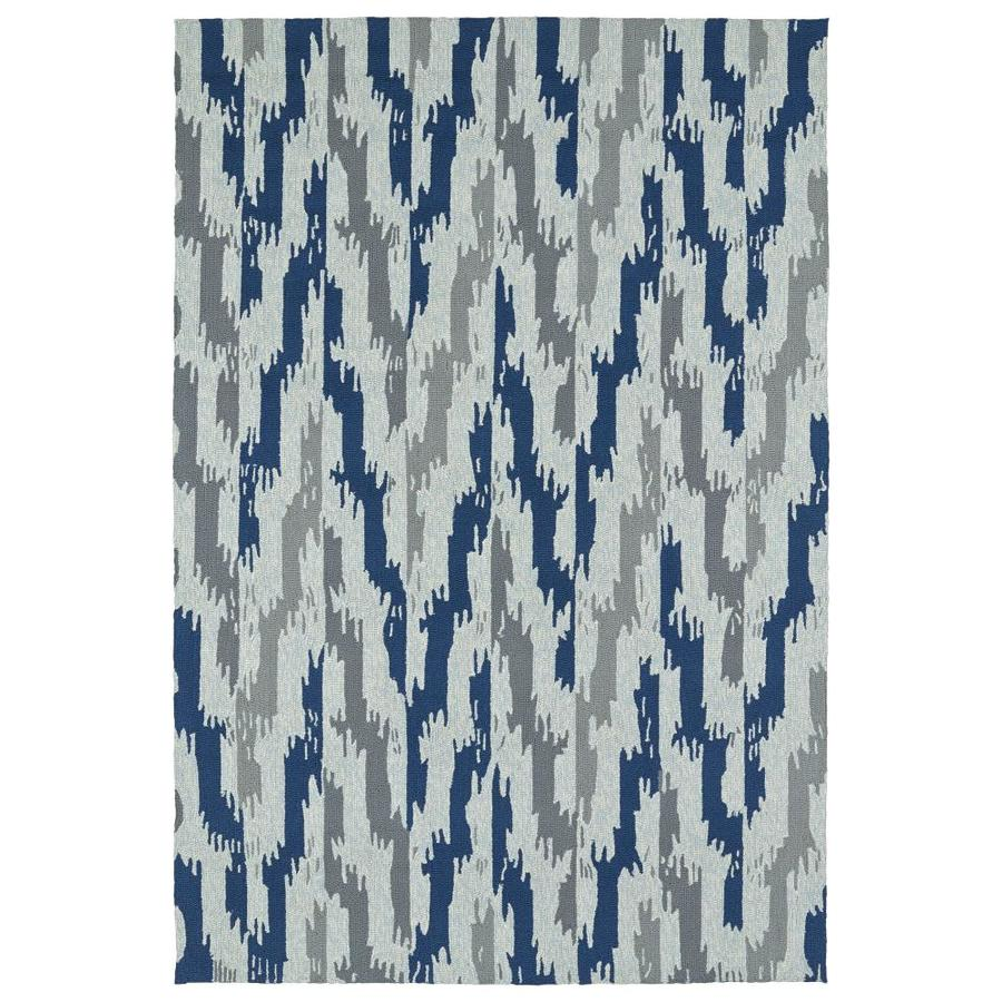 Kaleen Habitat Blue Indoor/Outdoor Handcrafted Southwestern Area Rug (Common: 9 x 12; Actual: 9-ft W x 12-ft L)