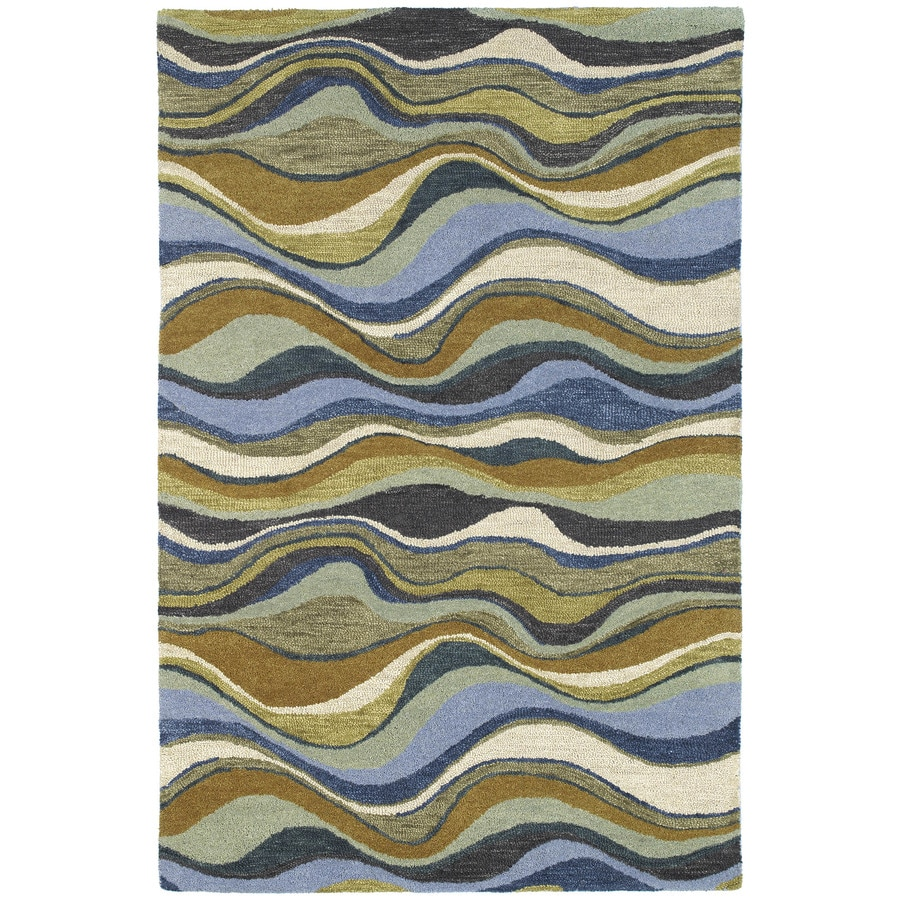 Kaleen Casual Blue Rectangular Indoor Handcrafted Southwestern Area Rug (Common: 5 x 7; Actual: 5-ft W x 7.5-ft L)