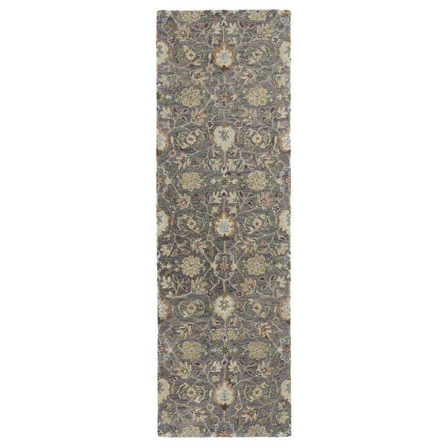 Kaleen Helena Pewter Rectangular Indoor Handcrafted Oriental Runner (Common: 3 X 8; Actual: 2.5-ft W x 8-ft L)