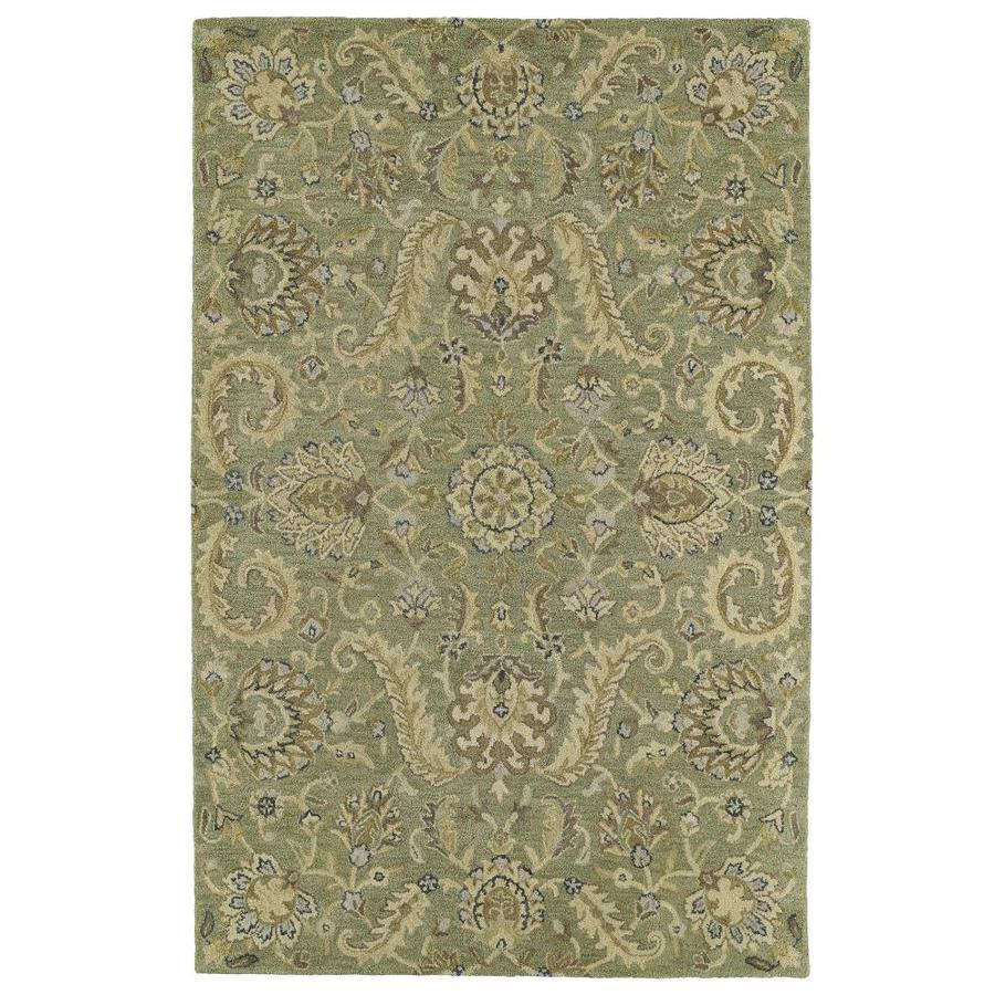 Kaleen Helena Green Indoor Handcrafted Oriental Area Rug (Common: 4 x 6; Actual: 4-ft W x 6-ft L)