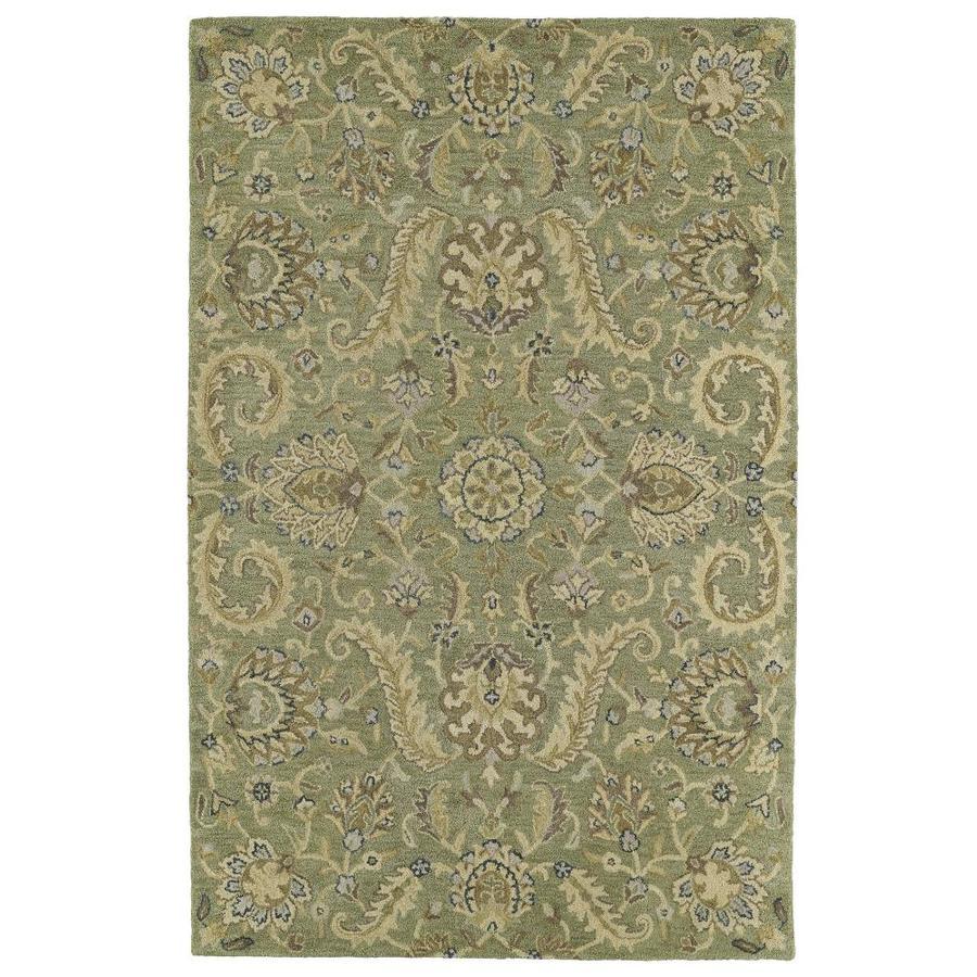Kaleen Helena Green Rectangular Indoor Handcrafted Oriental Area Rug (Common: 5 x 7; Actual: 5-ft W x 7.75-ft L)
