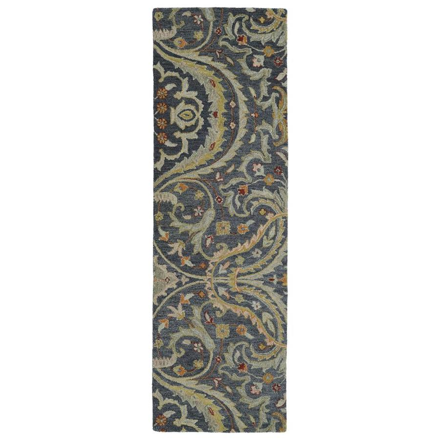 Kaleen Helena Pewter Rectangular Indoor Handcrafted Oriental Runner (Common: 3 X 8; Actual: 2.5-ft W x 8-ft L)