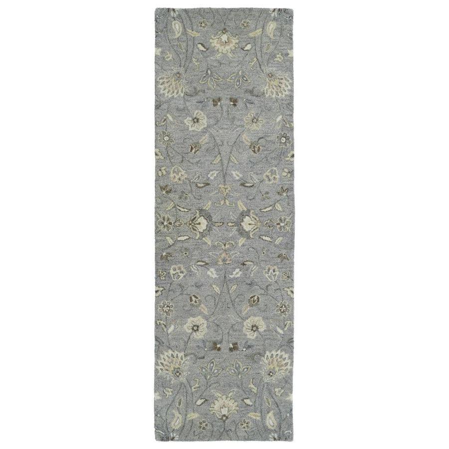 Kaleen Helena Grey Rectangular Indoor Handcrafted Oriental Runner (Common: 3 X 8; Actual: 2.5-ft W x 8-ft L)