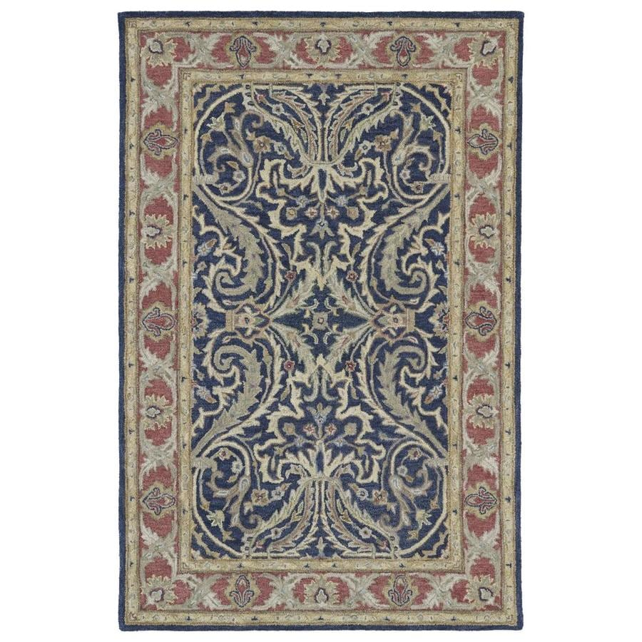 Kaleen Solomon Blue Rectangular Indoor Handcrafted Oriental Area Rug (Common: 4 x 6; Actual: 4-ft W x 6-ft L)