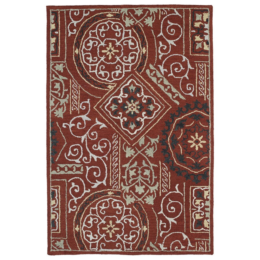 Kaleen Brooklyn Red Rectangular Indoor Hand-Hooked Novelty Area Rug (Common: 5 x 8; Actual: 60-in W x 90-in L)