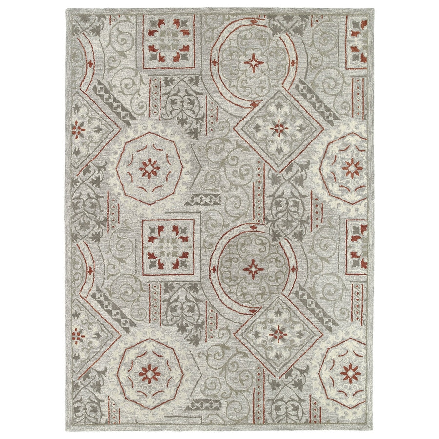 Kaleen Brooklyn Pewter Rectangular Indoor Hand-Hooked Novelty Area Rug (Common: 8 x 9; Actual: 7.5-ft W x 9-ft L)