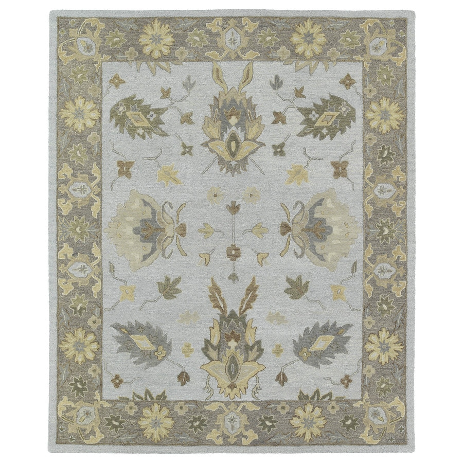 Kaleen Brooklyn Silver Rectangular Indoor Hand-Hooked Oriental Area Rug (Common: 10 x 13; Actual: 9.5-ft W x 13-ft L)