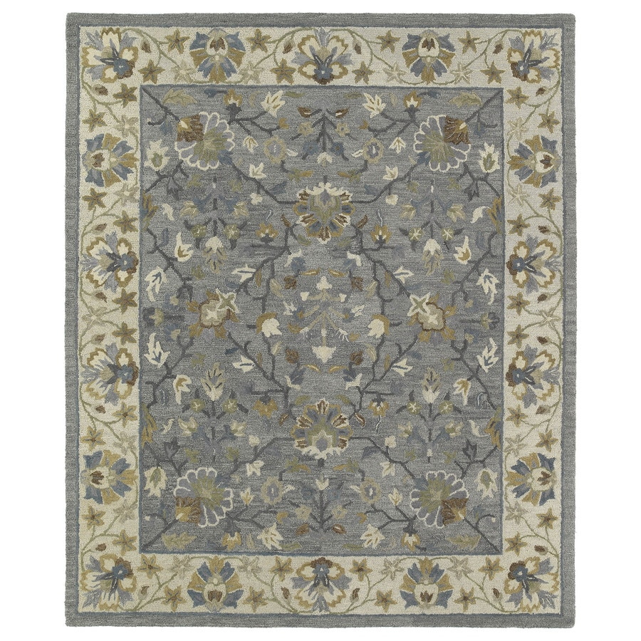 Kaleen Brooklyn Pewter Rectangular Indoor Handcrafted Oriental Area Rug (Common: 8 x 10; Actual: 7.5-ft W x 9-ft L)