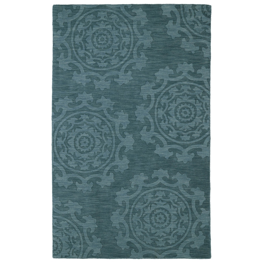 Kaleen Imprints Classic Turquoise Rectangular Indoor Handcrafted Southwestern Area Rug (Common: 4 x 6; Actual: 3.5-ft W x 5.5-ft L)