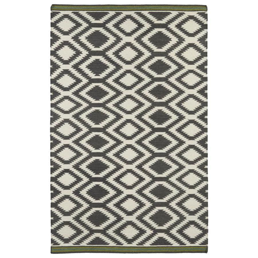 Kaleen Nomad Grey Indoor Handcrafted Southwestern Area Rug (Common: 4 x 6; Actual: 3.5-ft W x 5.5-ft L)