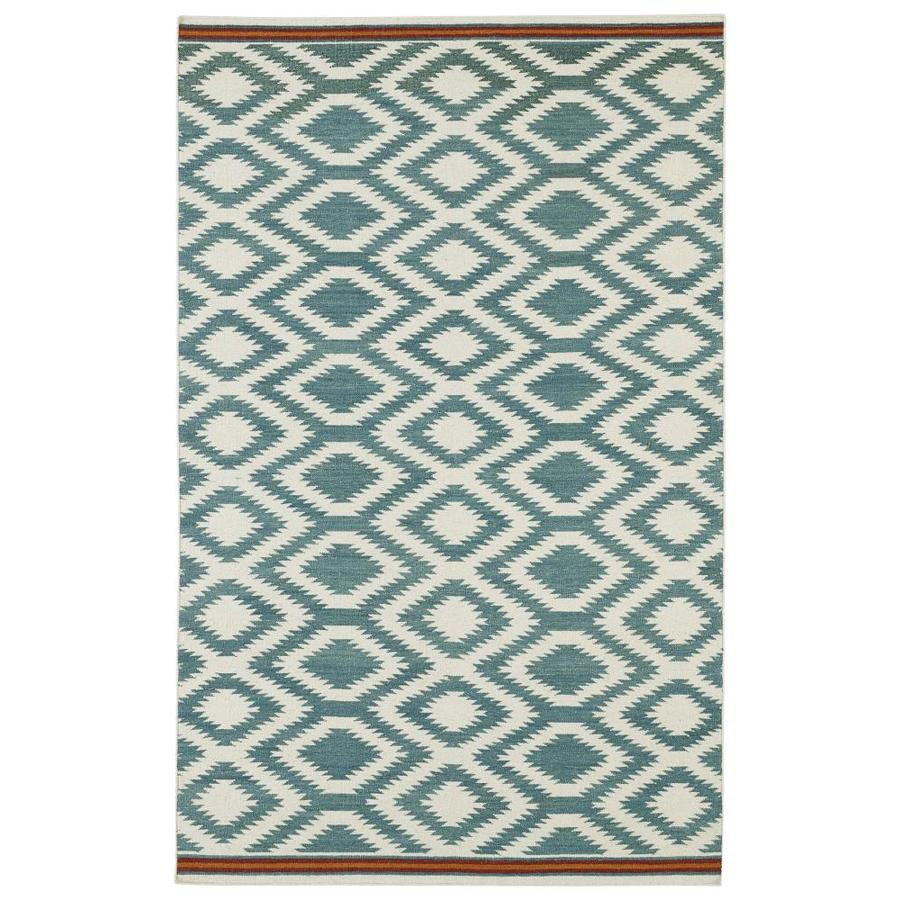 Kaleen Nomad Turquoise Rectangular Indoor Handcrafted Southwestern Area Rug (Common: 8 x 10; Actual: 8-ft W x 10-ft L)