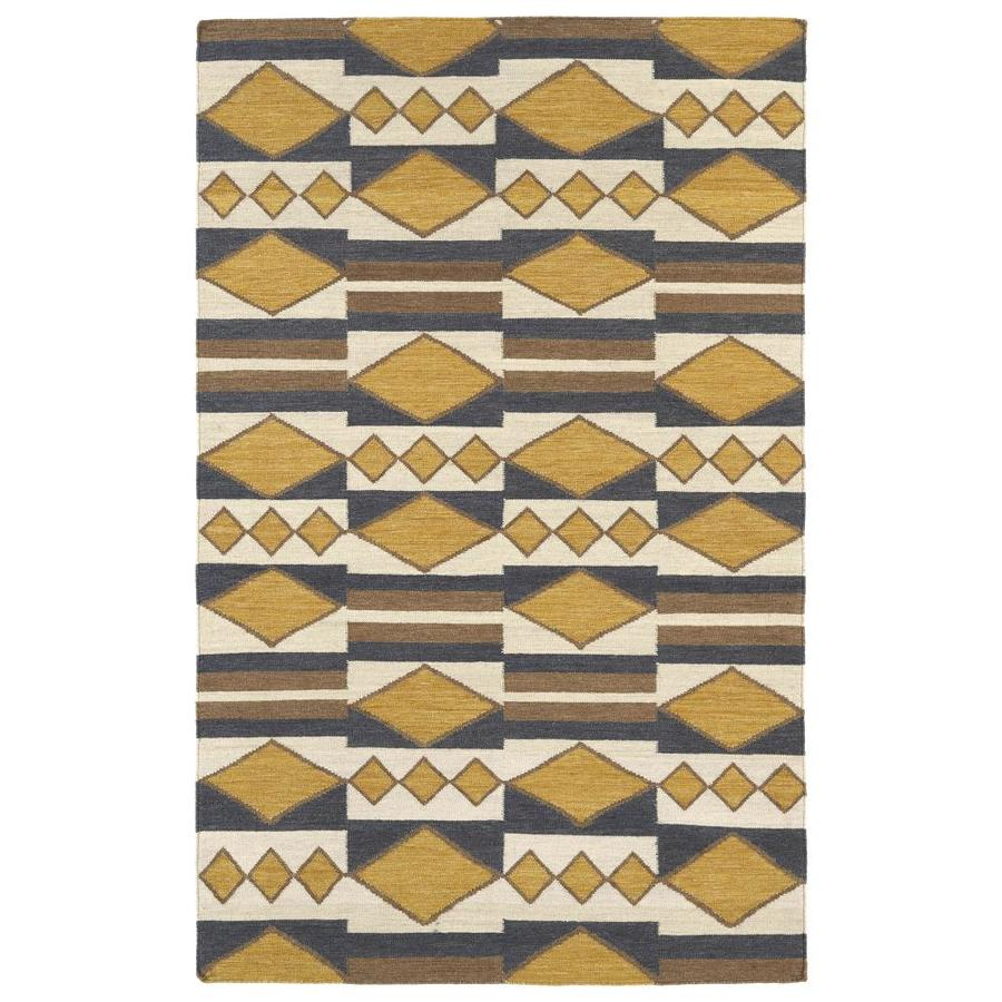 Kaleen Nomad Gold Rectangular Indoor Handcrafted Southwestern Area Rug (Common: 4 x 6; Actual: 3.5-ft W x 5.5-ft L)