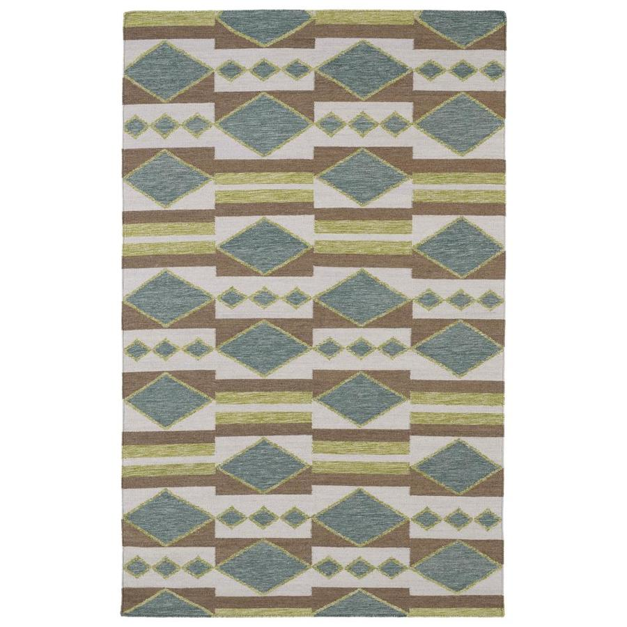 Kaleen Nomad Turquoise Rectangular Indoor Handcrafted Southwestern Area Rug (Common: 4 x 6; Actual: 3.5-ft W x 5.5-ft L)