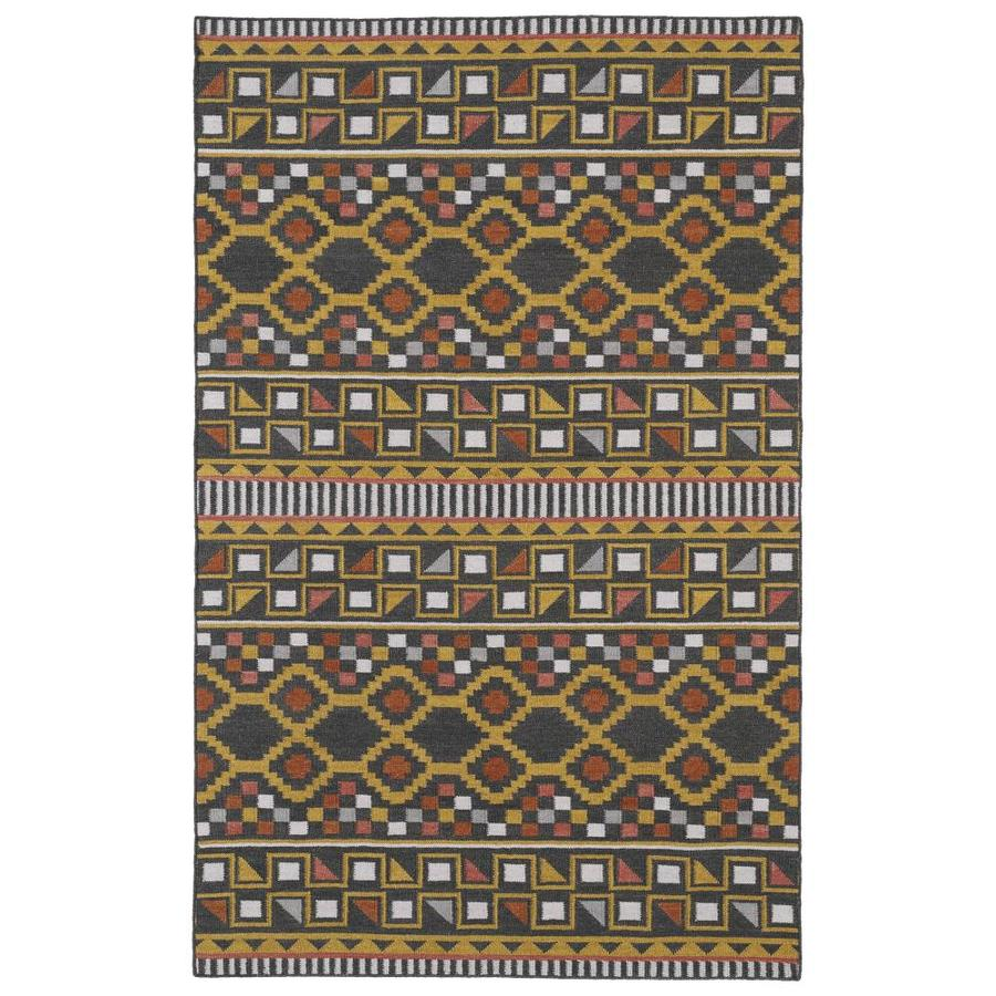 Kaleen Nomad Charcoal Rectangular Indoor Handcrafted Southwestern Area Rug (Common: 9 x 12; Actual: 9-ft W x 12-ft L)