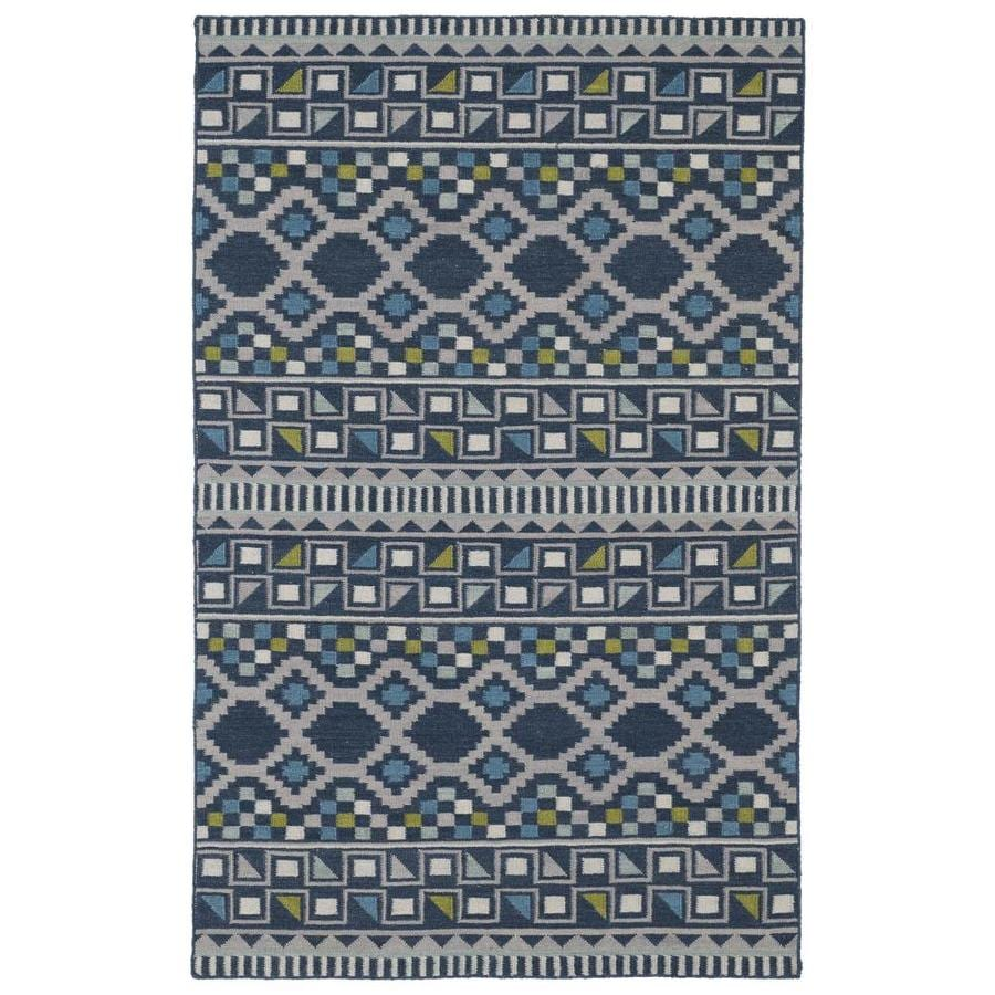 Kaleen Nomad Blue Rectangular Indoor Handcrafted Southwestern Runner (Common: 2 x 8; Actual: 2.5-ft W x 8-ft L)