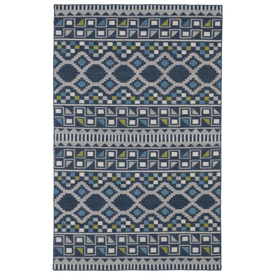 Kaleen Nomad Blue Rectangular Indoor Handcrafted Southwestern Area Rug (Common: 9 x 12; Actual: 9-ft W x 12-ft L)