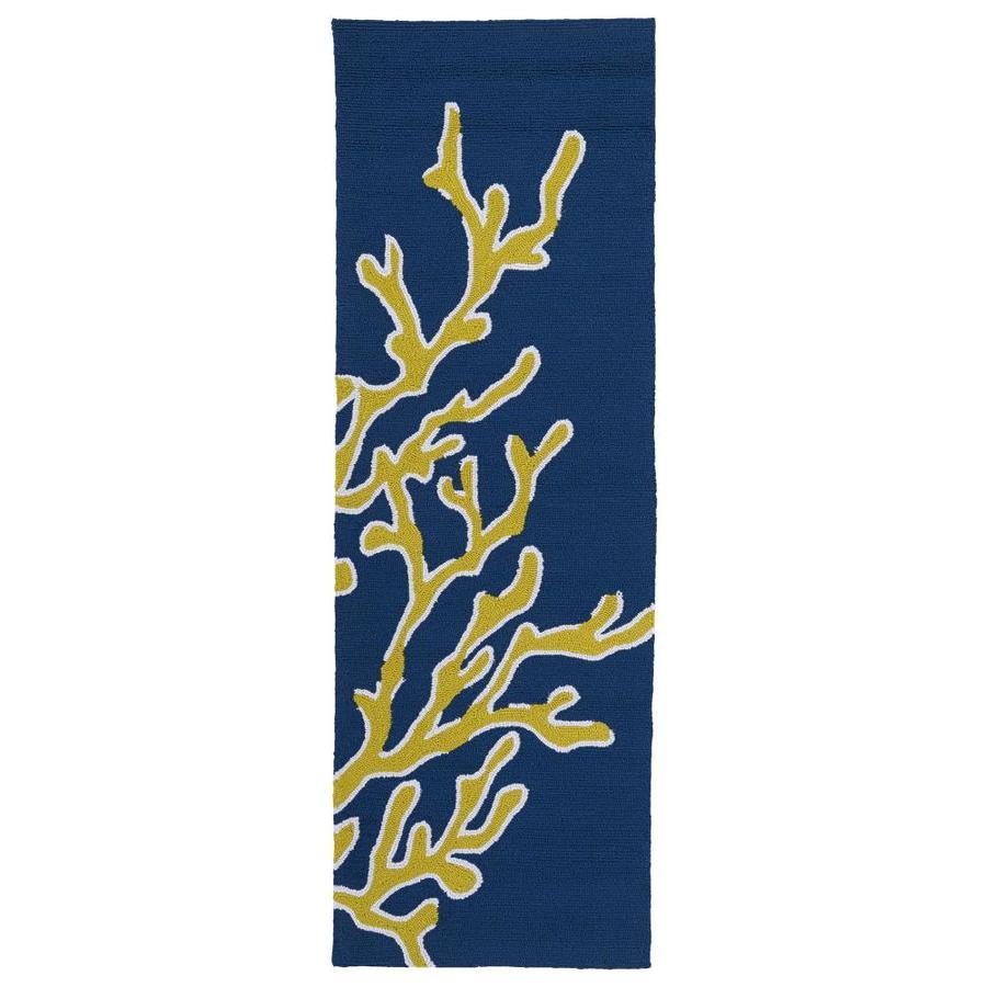 Kaleen Matira Blue Rectangular Indoor Handcrafted Coastal Runner (Common: 2 x 6; Actual: 2-ft W x 6-ft L)