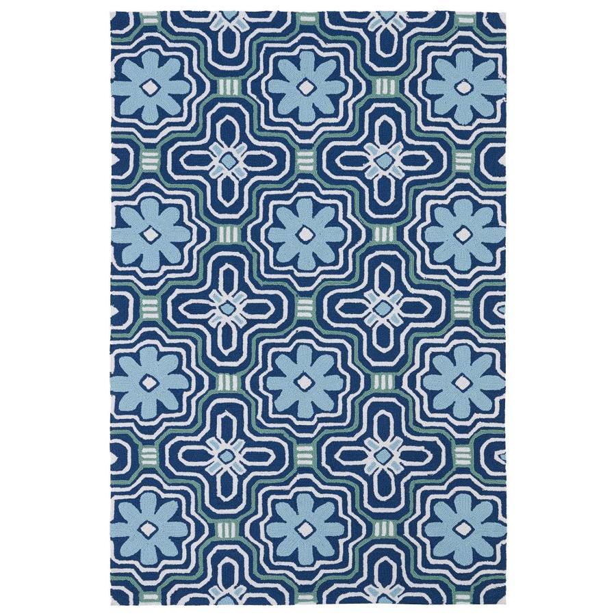 Kaleen Matira Blue Rectangular Indoor/Outdoor Handcrafted Coastal Throw Rug (Common: 2 x 3; Actual: 2-ft W x 3-ft L)