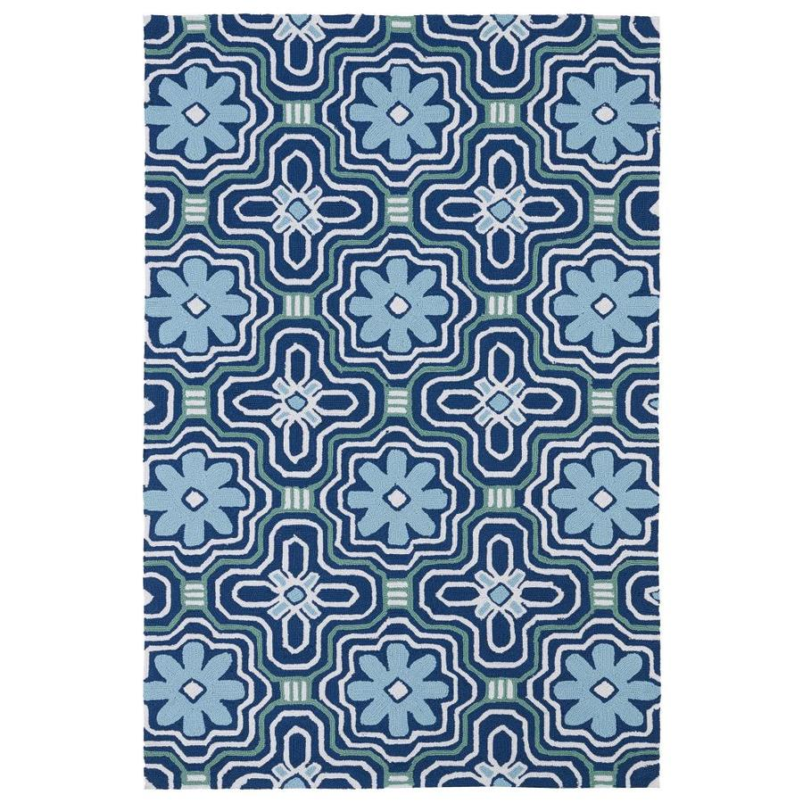 Kaleen Matira Blue Rectangular Indoor/Outdoor Tufted Coastal Area Rug (Common: 5 x 8; Actual: 5-ft W x 7.5-ft L)