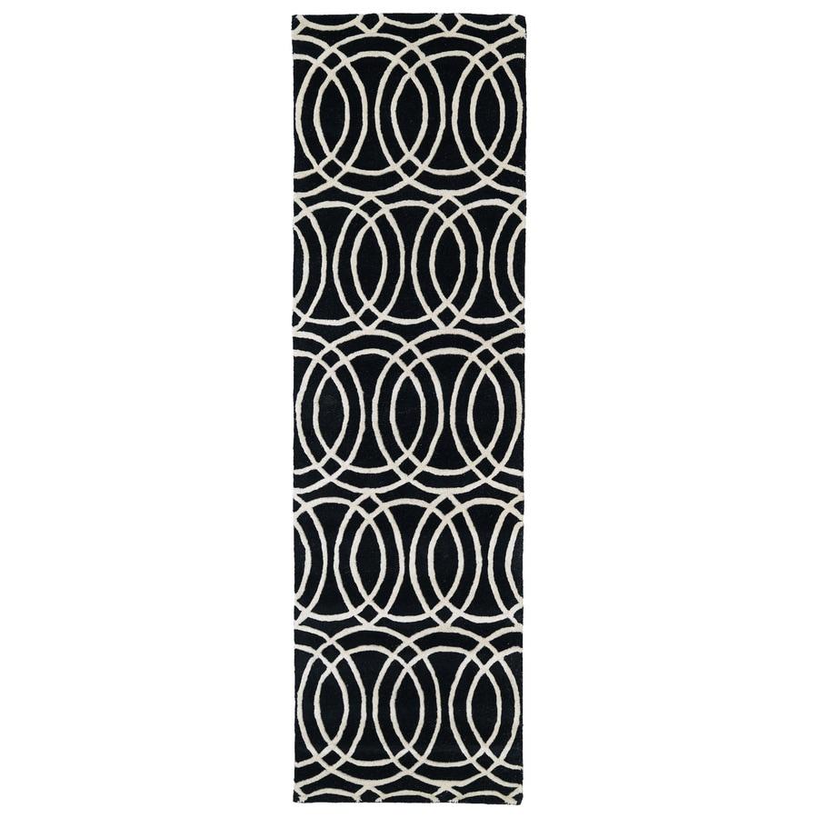Kaleen Revolution Black Rectangular Indoor Tufted Novelty Runner (Common: 2 x 6; Actual: 27-in W x 72-in L)