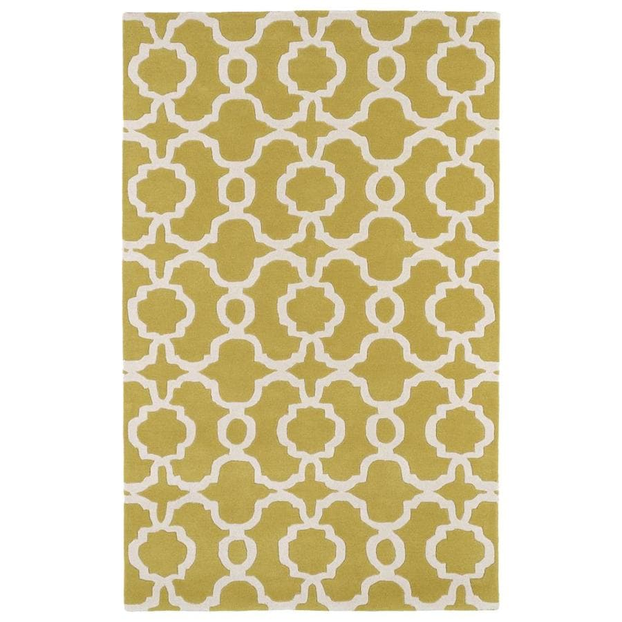 Kaleen Revolution Yellow Indoor Handcrafted Novelty Area Rug (Common: 5 x 8; Actual: 5-ft W x 7.75-ft L)