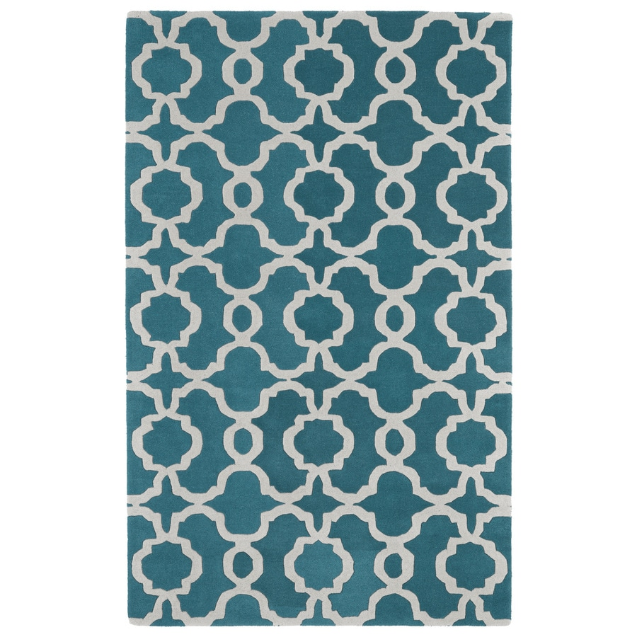 Kaleen Revolution Teal Rectangular Indoor Tufted Novelty Area Rug (Common: 5 x 8; Actual: 60-in W x 108-in L)